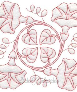 Morning Glory Redwork (September) (6.8-in)