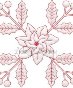 Holly & Poinsettia Redwork (December) (6.7-in)