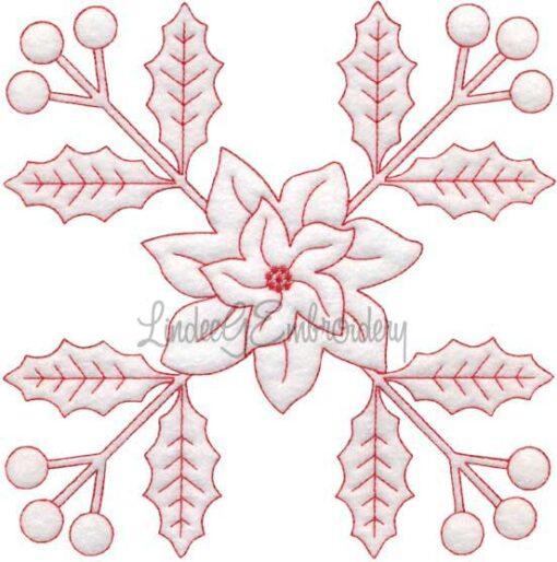 Holly & Poinsettia Redwork (December) (6.7-in)