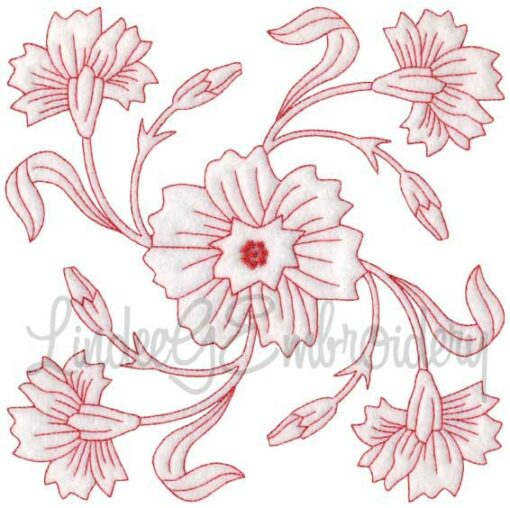 Carnation Redwork (January) (6.8-in)