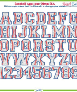 Baseball Applique 90mm ESA Font