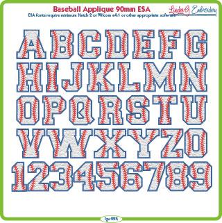 Baseball Applique 90mm ESA Font