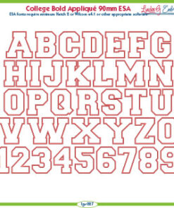 College Bold Applique 90mm ESA Font