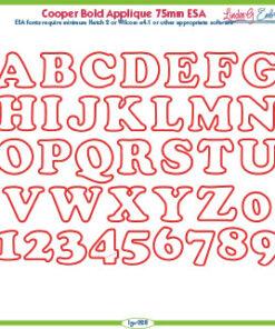 Cooper Bold Applique 75mm ESA Font