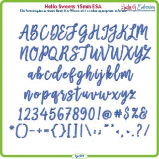 Hello Sweets 15mm ESA Font