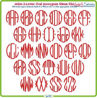 MGM-Oval 3-Letter 50mm ESA Font