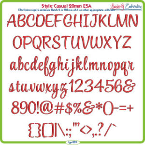 Style Casual Script 20mm