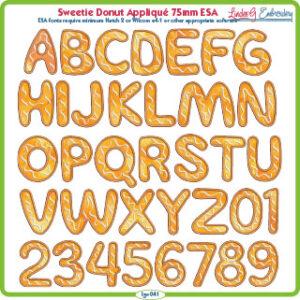 Sweetie Donut Applique 75mm ESA Font