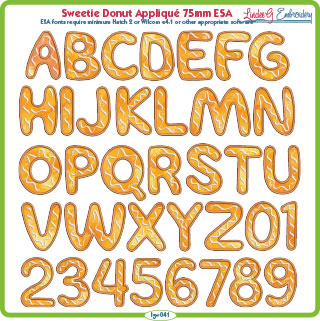Sweetie Donut Applique 75mm ESA Font