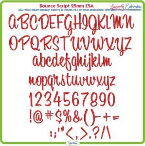 Bounce Script 25mm ESA Font