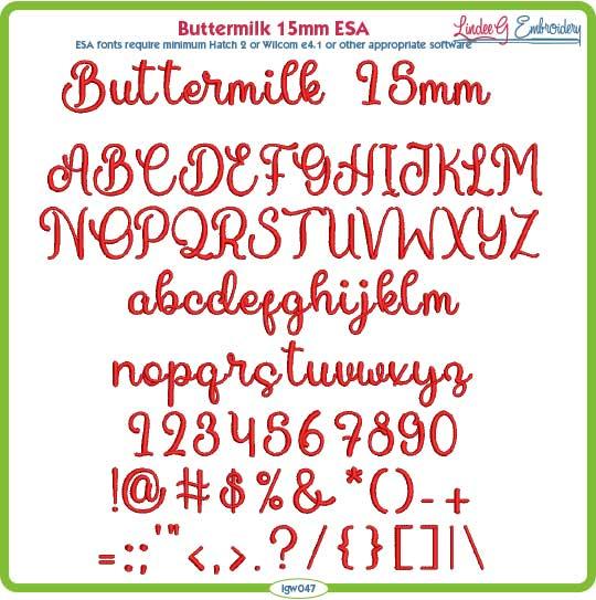 Buttermilk 15mm ESA Font