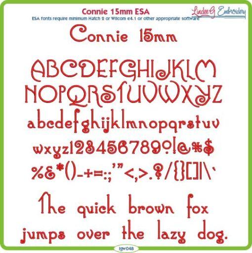 Connie 15mm ESA Font