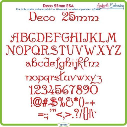 Deco 25mm ESA Font