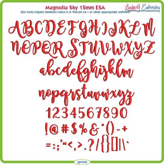 Magnolia Sky 15mm ESA Font