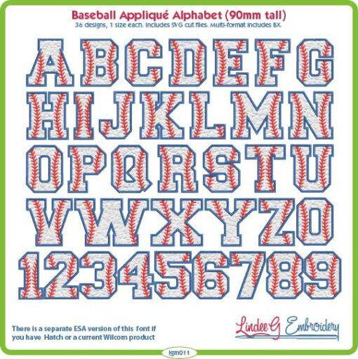Applique Baseball Alphabet